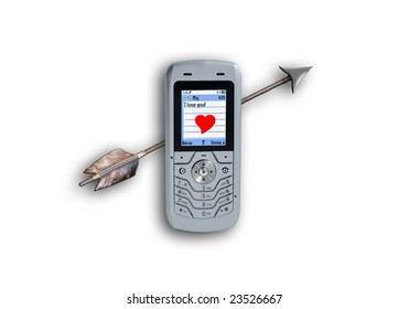 Cellular phone sending sms with heart and love - Valentine's Day