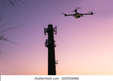 cellular signal tower inspecting and detecting drone