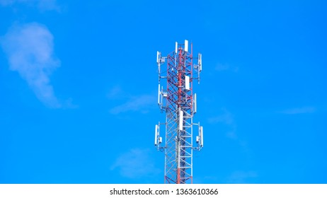 Cellular tower station for wireless telecommunication technology and Blue sky background