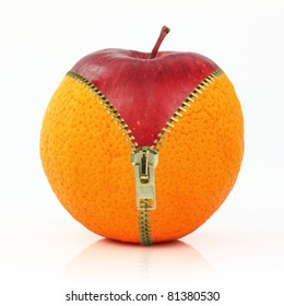 Cellulite concept. Fruits and diet against cellulite