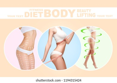 The cellulite removal plan. White markings on young woman body preparing for plastic surgery. Concept of slimming, liposuction, strand lifting. Collage