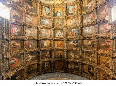 CELORICO DA BEIRA, PORTUGAL – July 20, 2018:  View of the 17th century painted coffered ceiling of the main chapel of the Church of Saint Mary (Igreja de Santa Maria) in the town of Celorico da Beira