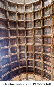 CELORICO DA BEIRA, PORTUGAL – July 20, 2018:   of the 17th century painted coffered ceiling of the nave of the Church of Saint Mary (Igreja de Santa Maria) in the town of Celorico da Beira