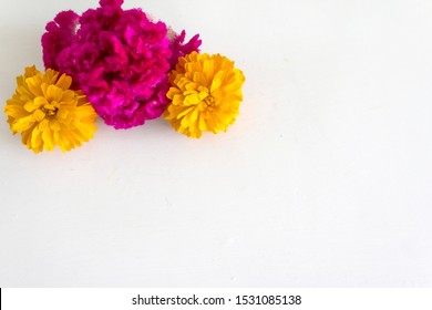 Celosia and Cempasuchil, mexican flowers in Day of the Dead México