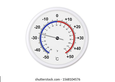 Celsius and fahrenheit scales thermometer for measuring weather temperature. Thermometer isolated on white background. Ambient temperature minus 25 degrees celsius