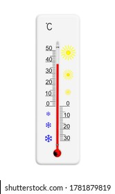 Celsius scale thermometer for measuring weather temperature. Thermometer isolated on white background. Ambient temperature plus 38 degrees