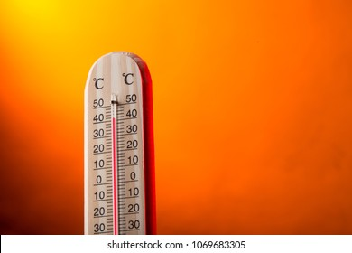 Celsius thermometer with hot background, close-up.