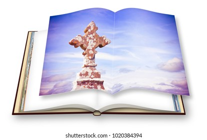 Celtic carved stone cross - concept image with 3D render of an opened photobook isolated on white background