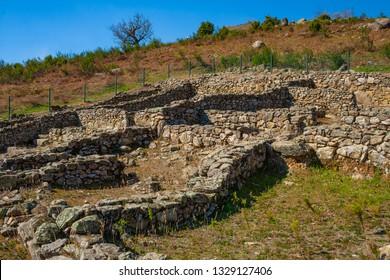 Celtic Castro of El Raso or El Freillo. Archaeological find of the Iron Age. Remains of walls, castle and celtiberian houses of settlement. Sierra de Gredos, Candeleda, Avila, Castilla y Leon, Spain