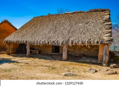 Celtic Castro of El Raso or El Freillo. Archaeological find of the Iron Age. Reconstruction of walls and celtiberian houses of settlement. Sierra de Gredos, Candeleda, Avila, Castilla y Leon, Spain