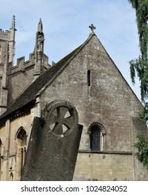 Celtic cross in a churchyard
