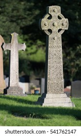 Celtic cross in graveyard in Cheshire, UK