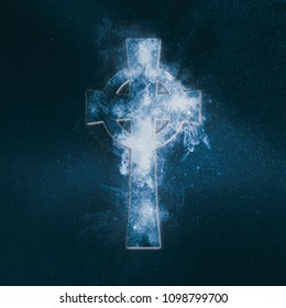 Celtic cross symbol. Abstract night sky background.