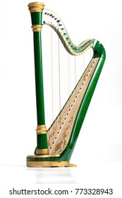 Celtic irish harp, classical and traditional string music instrument, isolated white background