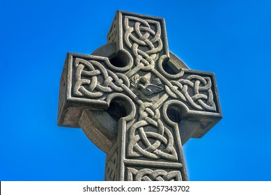 Celtic stone cross in the grounds of St Mary's church, Todmorden, Uk.