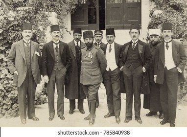 Cemal Pasha and members of the Turkish Parliament in Jerusalem, 1916. He had military success in Iraq in 1915, but left Palestine after Turkish troops faltered in 1917