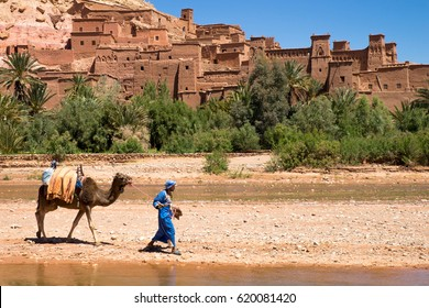 Cemel and berber in national traditional dress going through the desert. Ait Ben Haddou (or Ait Benhaddou) Morocco, Africa. 10th April 2016