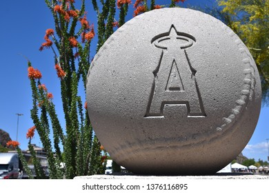 Cement baseball with California Angels design at Tempe Diablo Stadium the spring training facility of the Angels Tempe Arizona 4/13/19