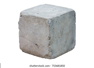 cement block isolated on white background. Clipping path