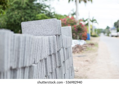 Cement bricks in construction site