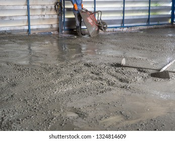 Cement construction in the building.