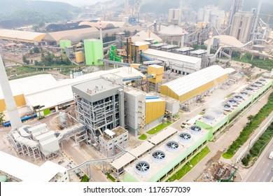 Cement Factory, Amphoe Muak Lek, Chang Wat Saraburi Thailand / Bird's-eye view from drone