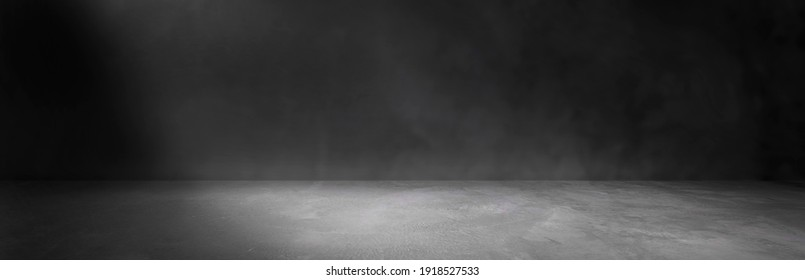 Cement floor and black wall backgrounds, empty room, interior, use for display products and cover banner.