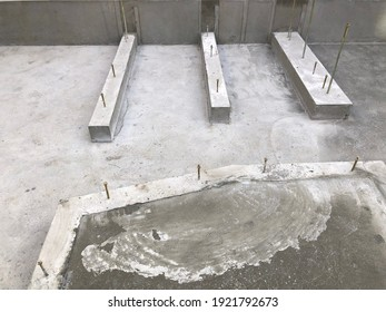 Cement foundation of house in construction site.The constructed to withstand an earthquake disaster prevention. Safety and quickly to building complete. Housing structure style of japan.