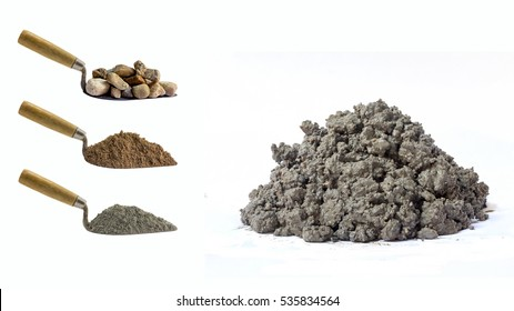 Cement mix pile and Cement ingredient collection set, Stone pile with a Sand pile and Cement powder pile is ingredient, It has been on the trowel Isolated on white background.