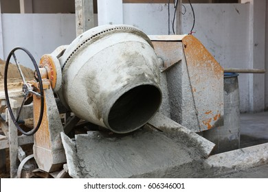 cement mixer machine in construction area