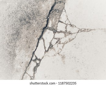 Cement mortar floor is rupture use to background.