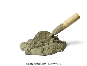 Cement or mortar with the trowel, Cement mix with the trowel isolated on white background.