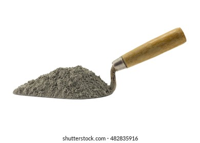 Cement or mortar with the trowel, Cement pile on the trowel isolated on white background.