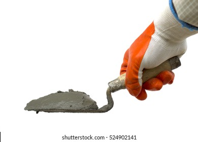 Cement or mortar with the trowel, Cement pile on the trowel isol