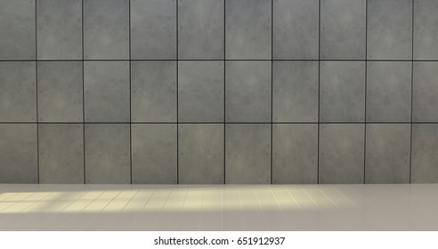 cement pattern and wood floor decorated in  the room, 3D rendering.