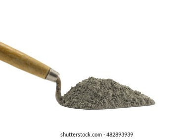 Cement pile or mortar pile on the trowel isolated on white background.
