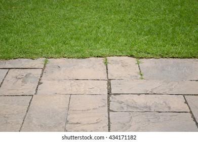 cement plate on green grass in nature garden