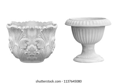 Cement pots isolated on white background