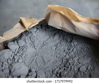 Cement powder in bag before mix. Concrete texture background