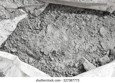 cement powder in bag before mix to concrete