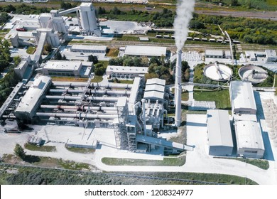 Cement production, plant for burning cement mix. Shooting from the air.
