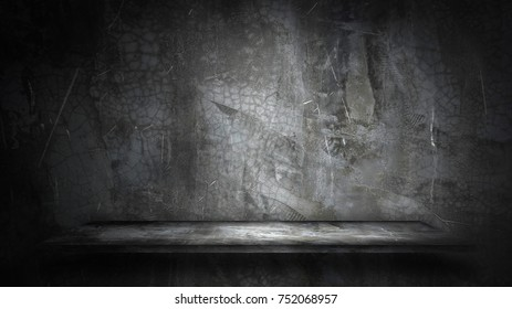 cement shelf and bare concrete wall backgrounds, for product display.