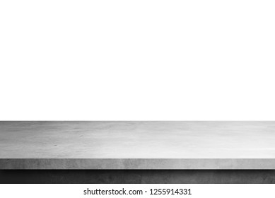 cement shelf table isolated on a white backgrounds, for display products