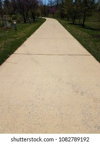 cement sidewalk or path with grass and trees