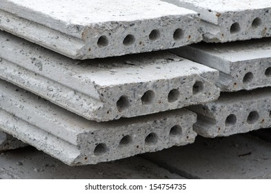 The cement slabs stacked neatly.