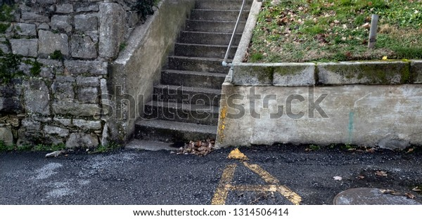 Cement Stairs Stone Retaining Wall Stock Image Download Now