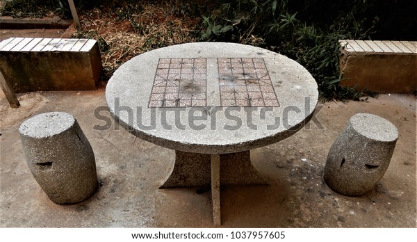 Fabulous Cement Table Chairs Apartment Courtyard China Stock Photo Uwap Interior Chair Design Uwaporg
