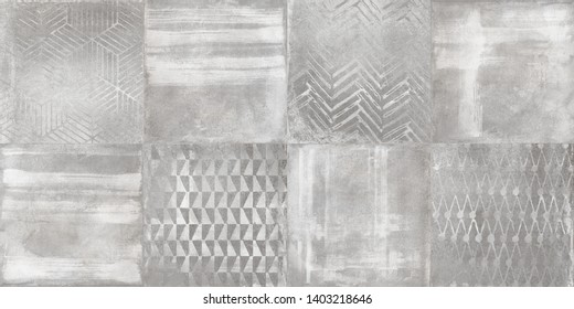 Cement texture with watercolor brush design, digital wall tile surface