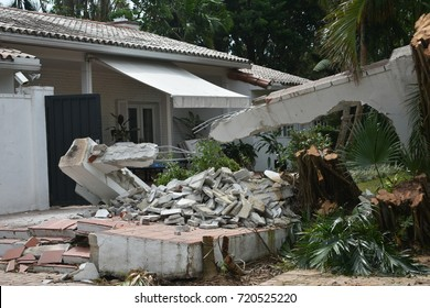 Cement wall destroyed by hurricane Irma in Florida