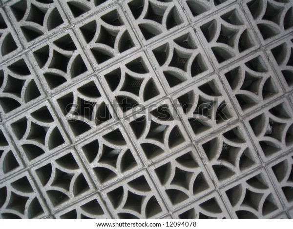 Cement wall with pattern.